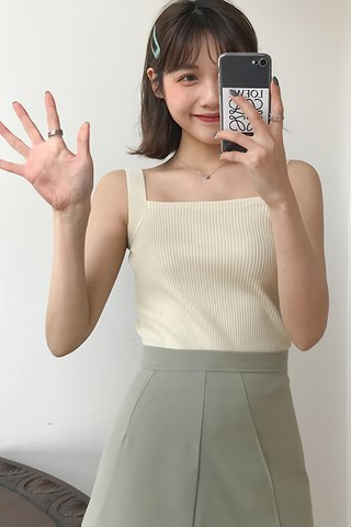 BACKORDER - Lucina Square Neck Knit Top In Cream