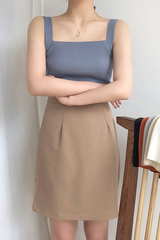 BACKORDER - Lucina Square Neck Knit Top In Dusty Blue