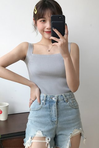 BACKORDER - Lucina Square Neck Knit Top In Grey