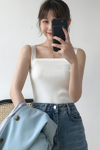 BACKORDER - Lucina Square Neck Knit Top In White