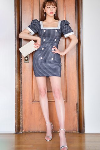 BACKORDER - Maedy Square Neck Double Breasted Dress