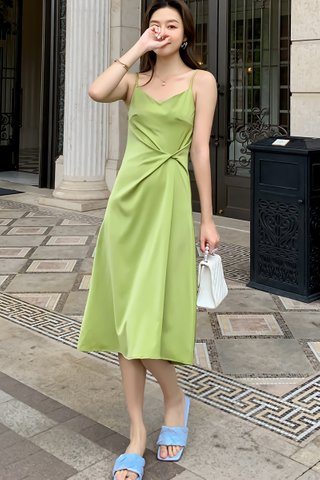 BACKORDER - Malyn Twist Knot Dress In Lime Green