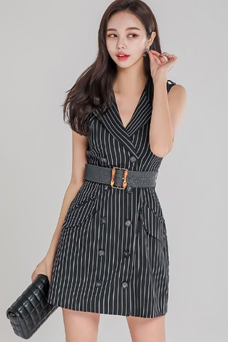 BACKORDER - Rosina Stripe Double Breasted Dress In Black