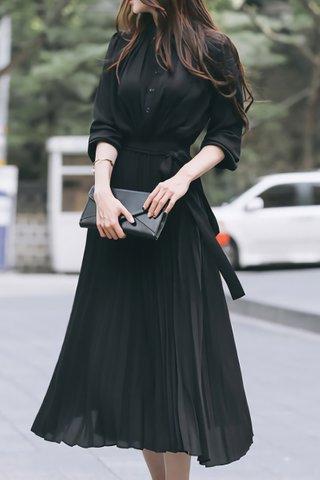 INSTOCK - Rubica Pleat Shirt Dress In Black