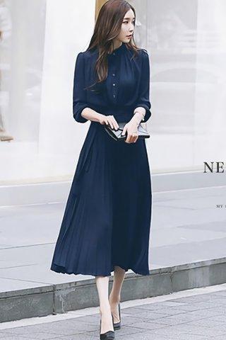 BACKORDER - Rubica Pleat Shirt Dress In Blue