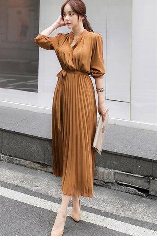BACKORDER - Rubica Pleat Shirt Dress In Caramel