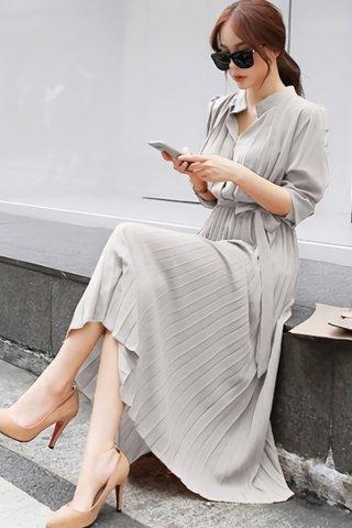 BACKORDER - Rubica Pleat Shirt Dress In Grey