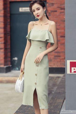 BACKORDER - Ellmor Cold Shoulder Dress In Pale Green