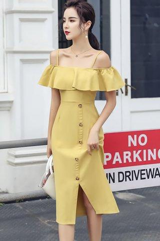 BACKORDER - Ellmor Cold Shoulder Dress In Pale Yellow