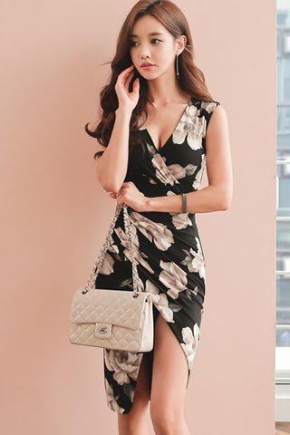 BACKORDER - Falyne V-Neck Asymmetrical Dress
