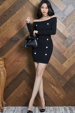 BACKORDER - Jastina Off Shoulder Double Breasted Dress