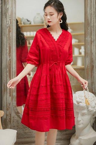 BACKORDER - Jermita Sleeve Babydoll Dress In Red