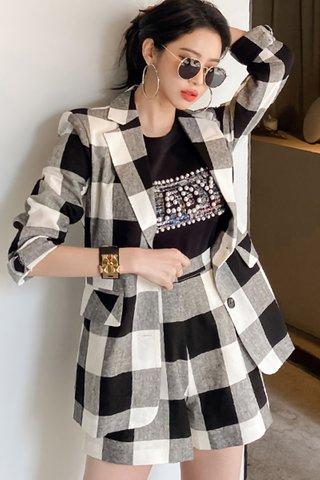 BACKORDER - Jorssie Checkered Outerwear With Short Set