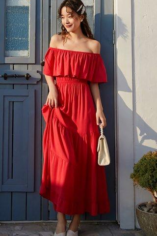 BACKORDER - Josinca Off Shoulder Ruffle Hem Dress In Red