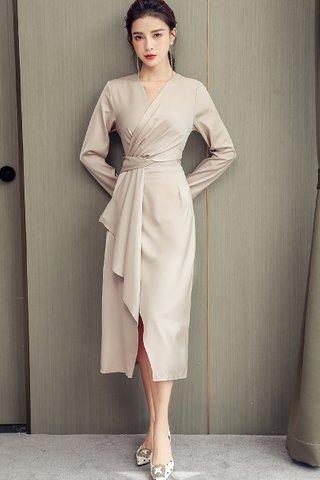BACKORDER - Keady V-Neck Cascade Ruffle Dress In Cream