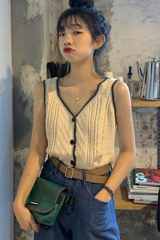 BACKORDER - Kerldi Sleeveless V-Neck Knit Top
