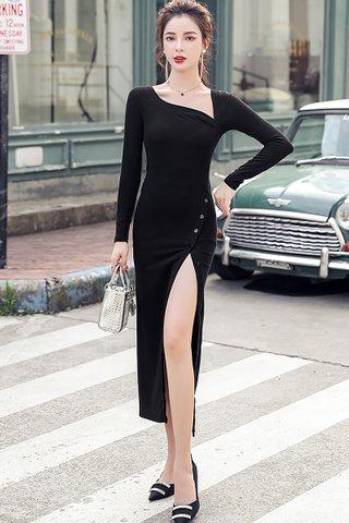 BACKORDER - Kervina Sleeve Cutout Side Slit Dress