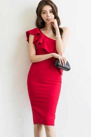 BACKORDER - Klorinda Cascade Ruffle Dress In Red