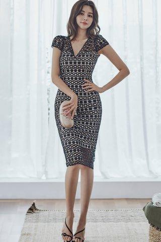 BACKORDER - Merlie V-Neck Crochet Overlay Dress In Black
