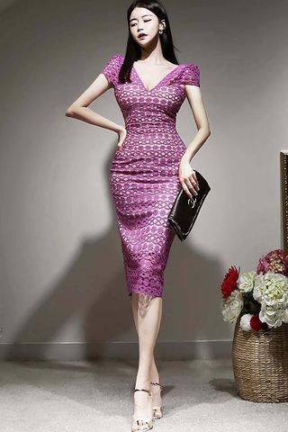 BACKORDER - Merlie V-Neck Crochet Overlay Dress In Magenta