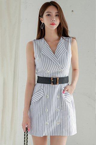 BACKORDER - Rosina Stripe Double Breasted Dress In White