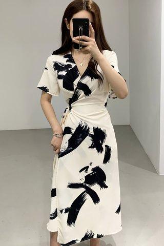 BACKORDER - Waynie Abstract Print Wrap Dress