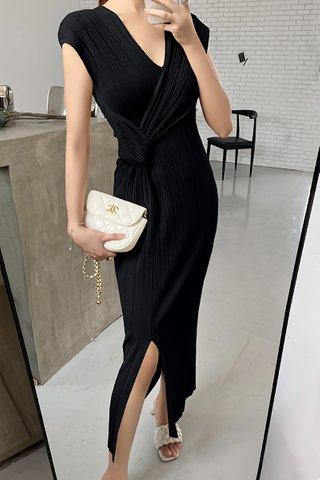 BACKORDER - Belvana V-Neck Pleat Dress In Black