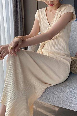 BACKORDER - Belvana V-Neck Pleat Dress In Cream