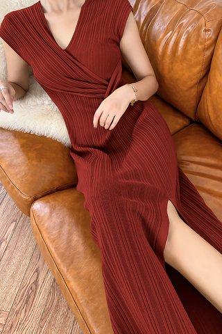 BACKORDER - Belvana V-Neck Pleat Dress In Crimson Red