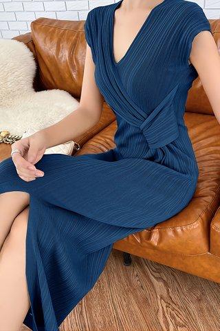 BACKORDER - Belvana V-Neck Pleat Dress In Navy Blue
