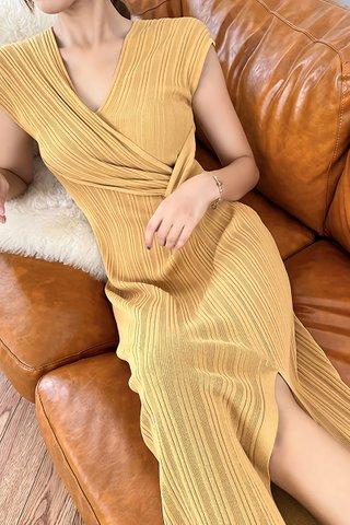 BACKORDER - Belvana V-Neck Pleat Dress In Yellow