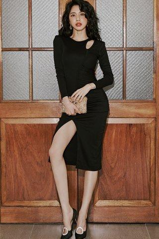 BACKORDER - Bervin Cutout Ruched Slit Dress In Black