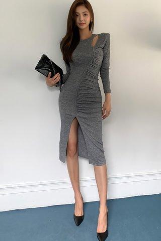 BACKORDER - Bervin Cutout Ruched Slit Dress In Grey