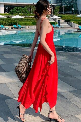 BACKORDER - Ellenora Sleeveless Overlay Dress In Red