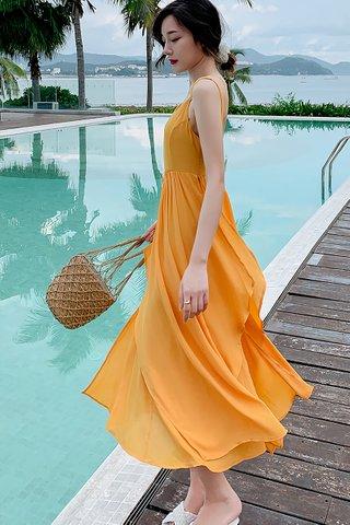 BACKORDER - Ellenora Sleeveless Overlay Dress In Yellow