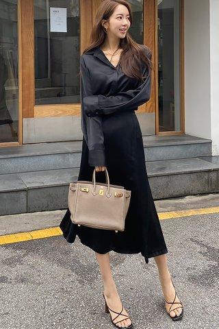 BACKORDER - Ferisa Shirt With Skirt Set In Black