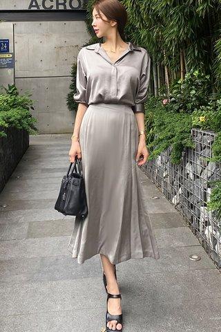BACKORDER - Ferisa Shirt With Skirt Set In Grey