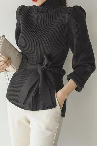 BACKORDER - Fervell Turtle Neck Knit Top In Black