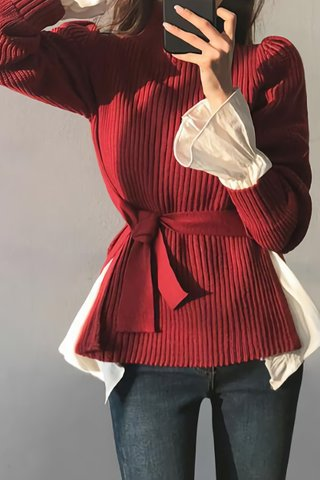 BACKORDER - Fervell Turtle Neck Knit Top In Wine Red