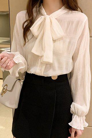 BACKORDER - Irvellla Sleeve Ribbon Tie Top In Cream
