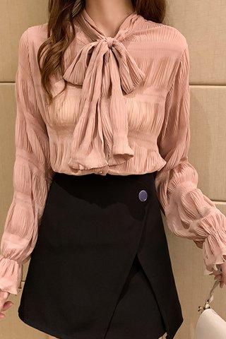 BACKORDER - Irvellla Sleeve Ribbon Tie Top In Pink