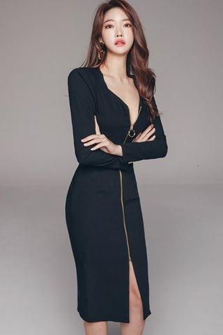 BACKORDER - Jayana Zipper Sleeve Dress In Black