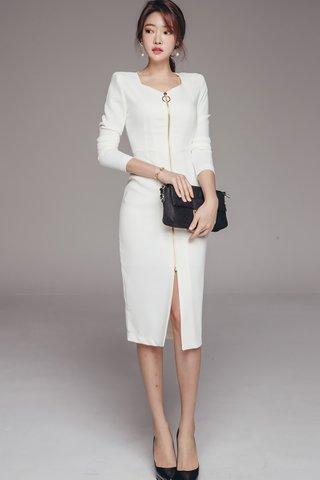 BACKORDER - Jayana Zipper Sleeve Dress In White