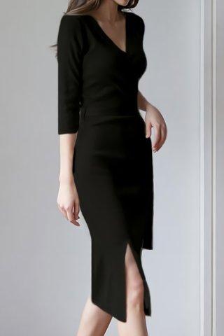 BACKORDER - Jorcie V-Neck Knit Dress In Black