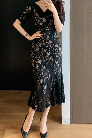 BACKORDER - Josay V-Neck Overlay Lace Dress In Black