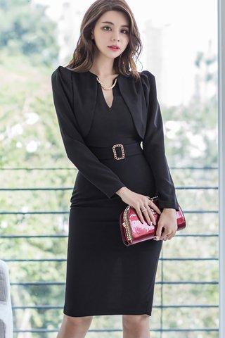BACKORDER - Kharlie Foldover Sleeve Dress In Black
