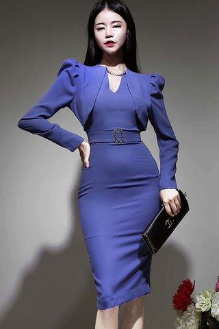 BACKORDER - Kharlie Foldover Sleeve Dress In Lavender Blue