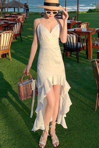 BACKORDER - Komadic Ruffle Hem Asymmetrical Dress In White