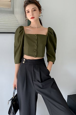 BACKORDER - Moera Square Neck Sleeve Top In Army Green