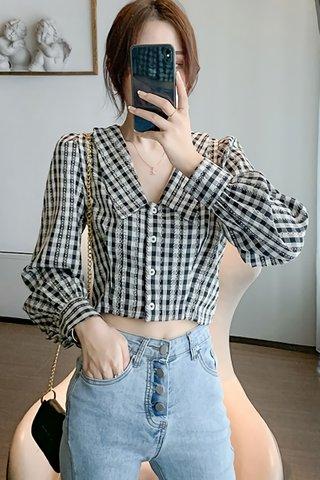 BACKORDER - Natora Collar Checkered Top